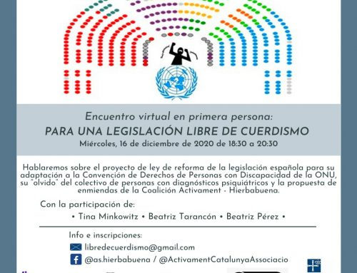 """""""Per a una legislació lliure de 'cuerdismo' i un model d'atenció al patiment psicosocial basat en drets humans"""". Trobada virtual en primera persona"""